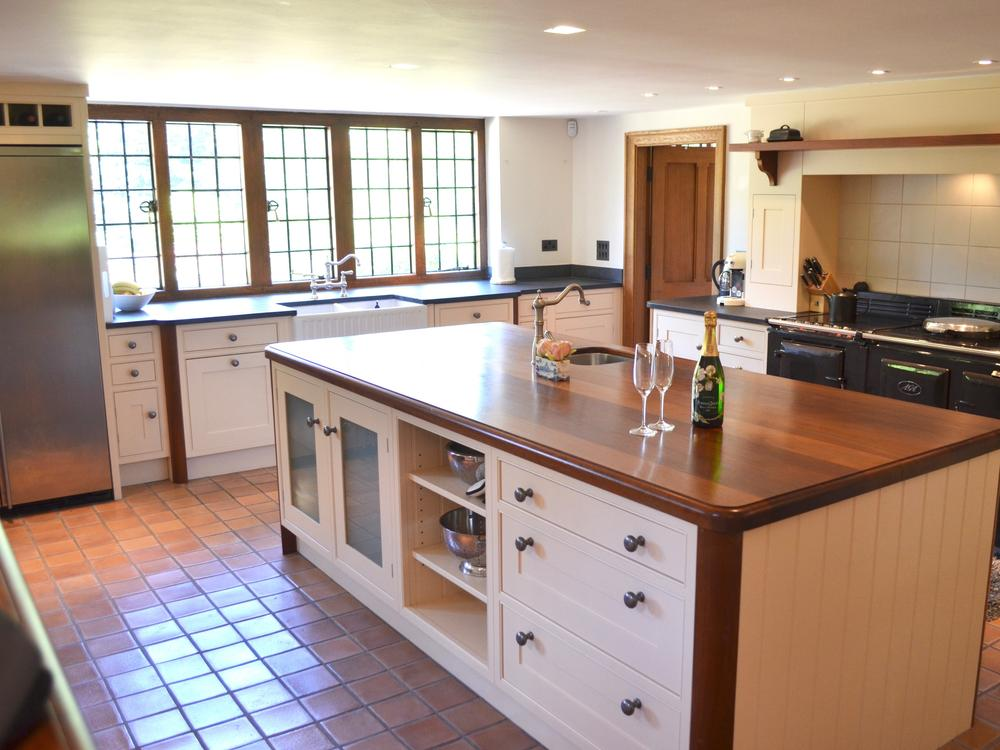 Bespoke Island Kitchen with Teak Worktops and Aga