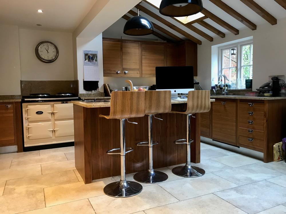 Wallnut Island Kitchen with Granite Worktop and Siemens Hob